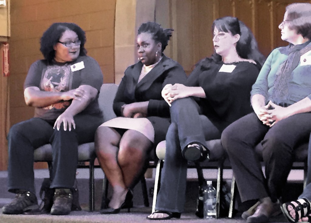 Don't be DECEIVED by that smile! Tempest Bradford makes White Men CRY! (pictured here with Chesya Burke, Mary SanGiovanni and Lucy Snyder at MoCon X)