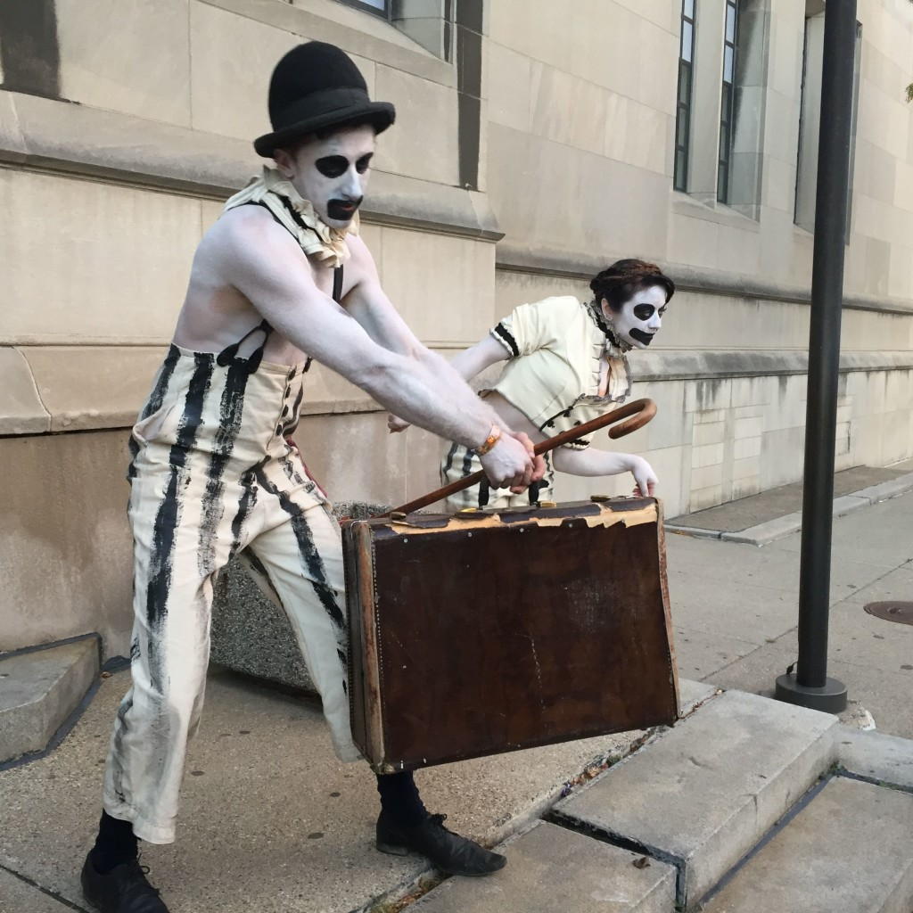 Clowning around on the steps of Masonic, waiting for Theatre Bizarre Gala 2015